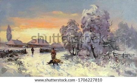 winter morning in the village after snowfall,oil painting, fine art, figures of people, tree, sky, landscape, nature