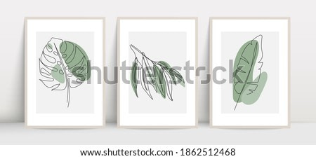 Botanical wall art vector set. Tropical foliage line art drawing with abstract shape. Abstract plant art design for print, cover, wallpaper, wall art. Vector illustration.