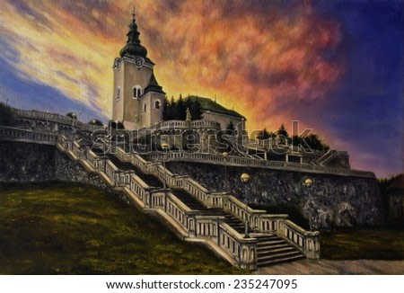 Beautiful oil painting of a church, staircase and old castle walls on canvas
