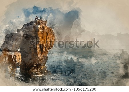 Digital watercolor painting of Rocky cliff landscape with sunset over ocean with undientified people on cliff top
