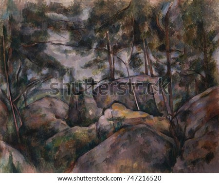 Rocks in the Forest, by Paul Cezanne, 1890s French Post-Impressionist painting, oil on canvas. The site of this work is disputed as being either in the Forest of Fontainebleau, where Cezanne worked in