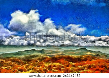Colorful hills and clouds aerial view oil painting