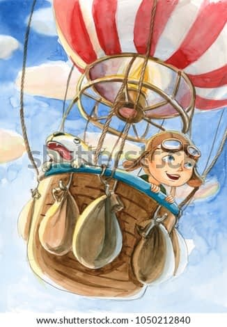 Watercolor hot air balloon illustration. Hand drawn vintage air balloon with boy and dog flying in the sky. Retro image for kids cartoon magazine.