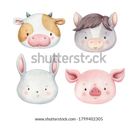 Set of cute watercolor animal faces. Domestic farm animals hand painted illustrations.