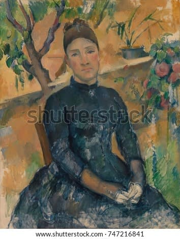 Madame Cezanne, by Paul Cezanne, 1891, French Post-Impressionist painting, oil on canvas. The painting is most developed in and around the head and shoulders, with the hands and lower areas sketched i