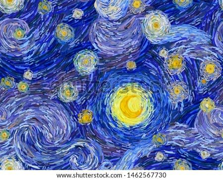 Seamless pattern of a night sky with swirly clouds, stars and glowing moon, in the style of impressionist paintings.