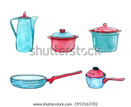 Set of pans drawn watercolor clip art