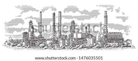 Industrial landscape line (engraving style) drawing. Oil refinery plant. Oil industry illustration. Vector. Sky in separate layer.
