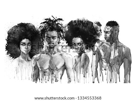 Painting african women and men. Hand drawn beautiful people on white background. Watercolor fashion illustration