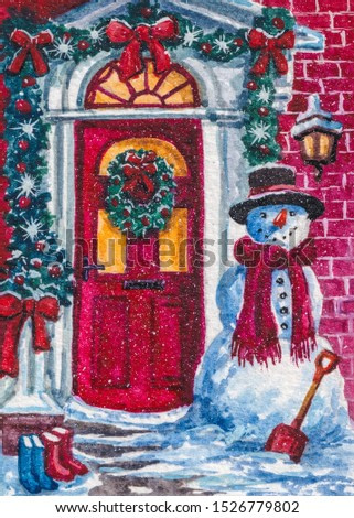 Snowman is standing at the red door decorated for Christmas.
