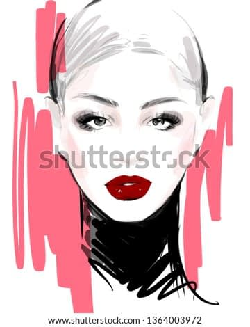 Young woman model face hand drawn fashion illustration. Glamour girl portrait sketch.