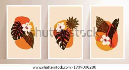 Trendy abstract tropical plant, flowers with abstract shapes. Modern minimalist vector illustrations. Set of Botanical wall art with Bohemian style. Contemporary for wall prints, poster, home decor.
