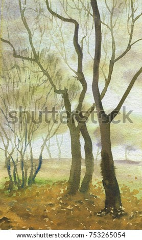 autumnal abstract forest landscape watercolor painting background