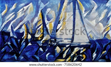 Regatta in open sea. Abstract art in bright blue colors in a contemporary style. Executed in oil on canvas.