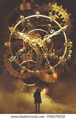 man with a lantern standing in front of the big golden clockwork,illustration painting