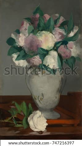Peonies, by Edouard Manet, 1864-65, French impressionist painting, oil on canvas. The flowers broad petals and leaves were painted with his loose brushwork with subtle color