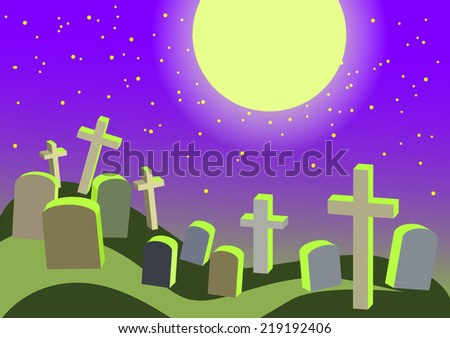 Night cemetery background with a crooked crosses and tombstones and the moon for Halloween party