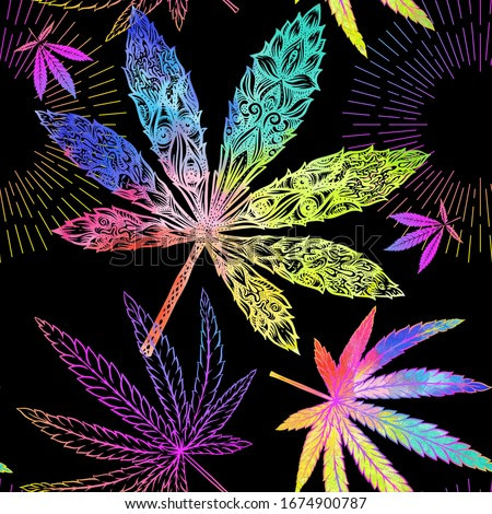 Cannabis leaves seamless pattern, background. Vector illustration in neon, fluorescent colors..