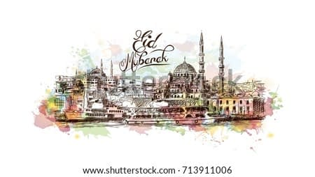 Watercolor sketch of Blue Mosque Istanbul Turkey with Eid Mubarak text in vector illustration.