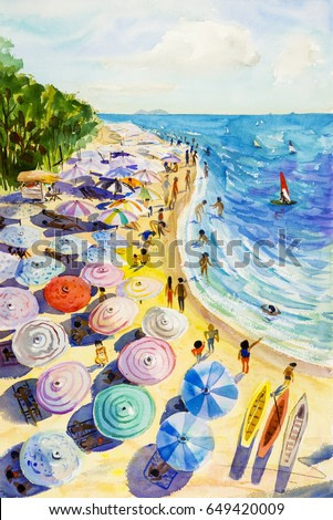 Painting watercolor seascape colorful of lovers, family vacation and tourism in summery, sea wave blue,sailboat with sky background. Painted Impressionist, abstract image illustration.