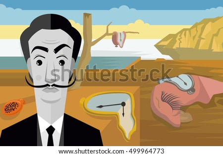 surrealist painter on watches and clocks oniric background landscape