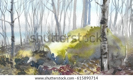 Early morning in the forest in the spring, green moss among the trees, tender watercolor painting background