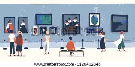 Visitors of classic art gallery or museum viewing exhibits. People or tourists looking at paintings at exhibition. Men and women enjoying artworks. Colorful vector illustration in flat cartoon style.