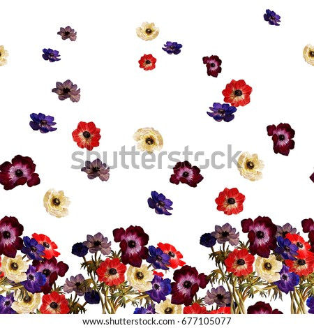 Floral horizontal border. Multicolored flowers anemones, isolated on a white background. Watercolor painting.