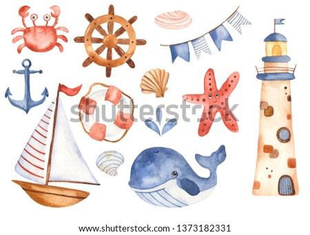 Watercolor children set cute cartoon sailboat, lighthouse, whale. Great for baby cards, invitations, baby shower, parties, birthday.