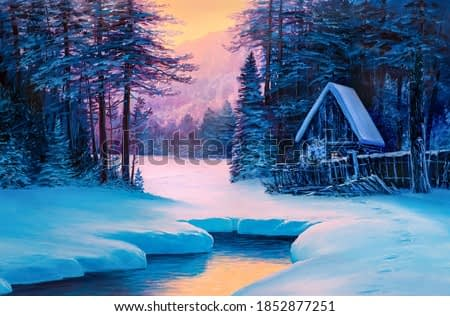 Winter landscape with the river. House in the woods. Original  oil painting.