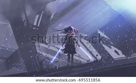 little futuristic knight with twin swords against buildings background, digital art style, illustration painting