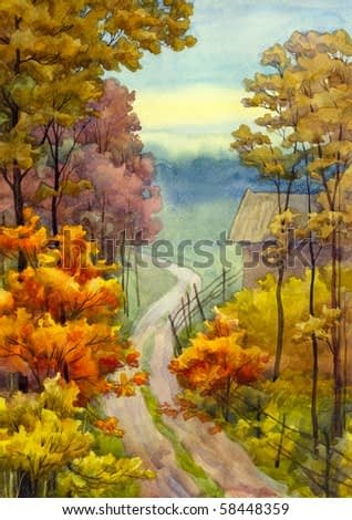 Watercolor landscape. Countryside view of a dirt road near the autumnal forest