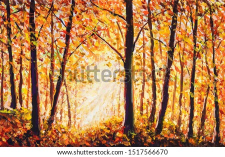 Autumn forest painting Collection of designer oil painting. Decoration for interior. Modern art. Set of paintings orange gold watercolor