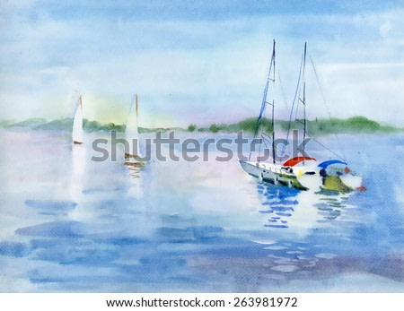 Watercolor summer landscape with Sailboats vector illustration