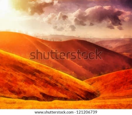 Digital structure of painting. Watercolor landscape in the hills