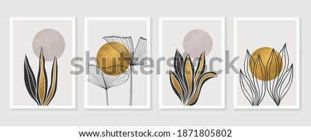 Gold Botanical wall art vector set. Earth tone boho foliage line art drawing with  abstract shape.  Abstract Plant Art design for print, cover, wallpaper, Minimal and  natural wall art.