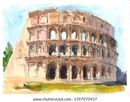 Rome, Italy. The Colosseum or Coliseum. Watercolor landscape painting in modern style for print on demand or design of interiors hotels and bedrooms.