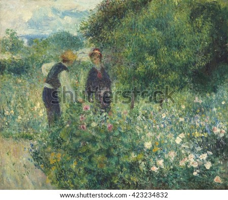 Picking Flowers, by Auguste Renoir, 1875, French impressionist painting, oil on canvas. This work is painted with the small daubs of paint, using bright saturated colors and minimally defined forms a