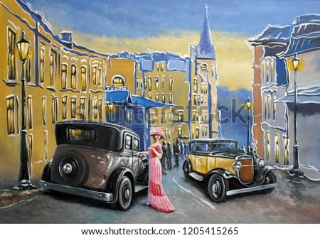 Oil paintings landscape. Old city.  Street and old auto. Fine art.