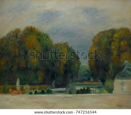 Versailles, by Auguste Renoir, 1900-5, French impressionist painting, oil on canvas. The scene of a fountain and woods on the north side of the Chateau of Versailles