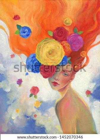 beautiful woman and flowers. oil painting. contemporary art