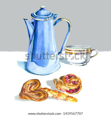 tea pot and bread watercolor illustration for all prints on hand painting style.