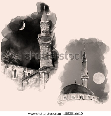 Vintage hand drawn old mosque. Watercolor illustration.