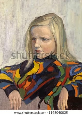 Drawing of young girl relaxing at home. Picture contains an interesting idea, evokes emotions, aesthetic pleasure. Canvas stretched on a stretcher, oil natural paints. Concept art painting textural