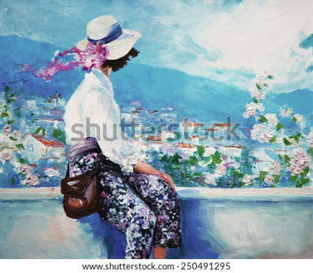 oil painting, woman sitting and looking down on the city