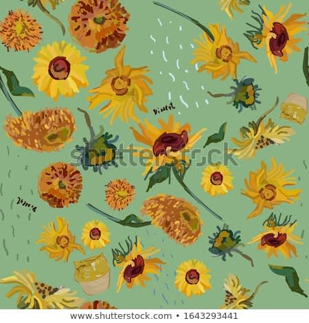 Sunflower flowers on a background of sea green. Vector illustration based on the oil painting of Van Gogh. Seamless pattern.