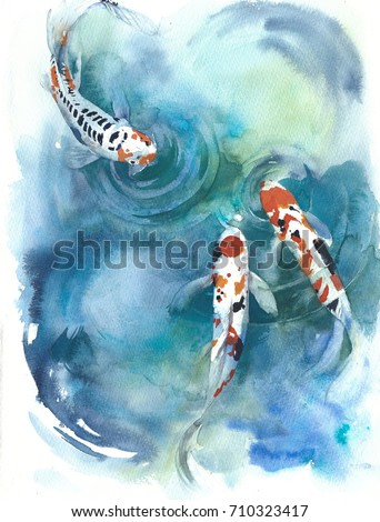 Fish Japanese symbol  in the pond watercolor painting illustration