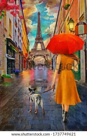 Oil Painting - Rainy Day Paris with Eiffel tower.Collection of designer oil paintings. Decoration for the interior. Modern abstract canvas art. Set of pictures. umbrella. vintage