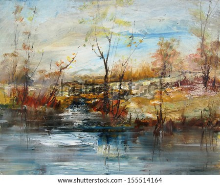 Landscape with trees and water level, oil painting