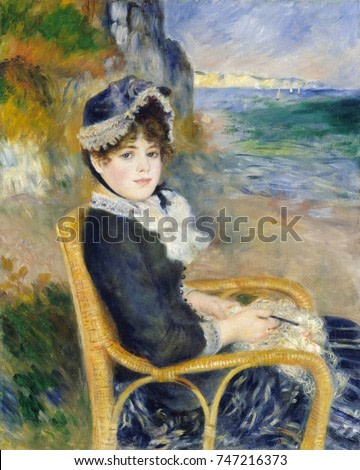 By the Seashore, by Auguste Renoir, 1883, French impressionist painting, oil on canvas. The model is Aline Victorine Charigot, then Renoirs lover, who became his wife in 1890. Filmmaker Jean Renoir wa